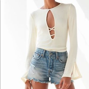 Urban Outfitters Strappy Bell Sleeve Top CREAM M